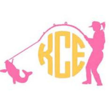 Girls Hooked on Fishing with Monogram Initials