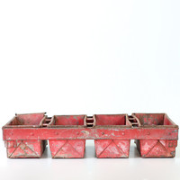 Vintage Industrial Bread Pan - Red