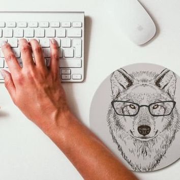 Wolf Hipster Animal Mouse Pad Mouse Mat Design