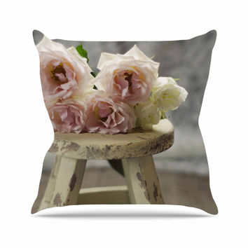 "Cristina Mitchell ""Roses on Stool"" Floral Photography Throw Pillow"