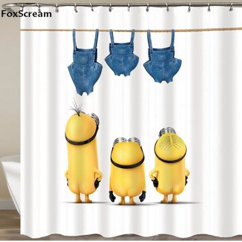 Yellow Shower Curtains Mischievous Minions Series Shower Curtains Bath Curtain Polyester Waterproof Bathroom Curtain