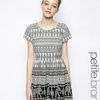 New Look Petite Elephant Print Waisted Dress