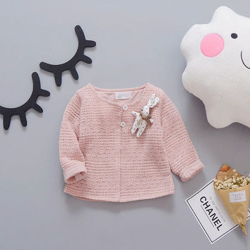 Fashion Spring Autumn Casual Children Girls Baby Kids Jackets Sweet knitting Hollow out Shawl Cardigan Outwear Coats S4724
