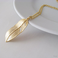 Long Gold Feather Necklace - Matte Gold Plated