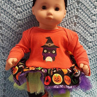 "15 inch Baby Doll Clothes ""Halloween Owl"" doll outfit Will fit Bitty Baby® Bitty Twins® Halloween dress pants socks headband Q4"