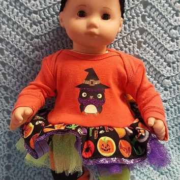 """Black Cat And Owl Halloween Pant Set Fits 18/"""" American Girl Doll Clothes"""