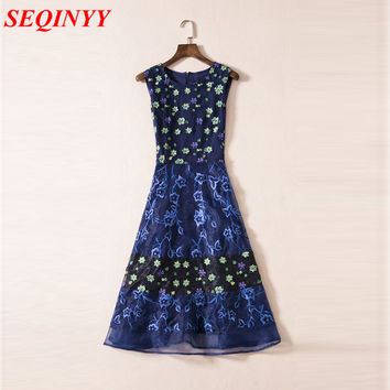 XXL High Quality Runway Novelty Dresses 2017 Summer Women Mesh Floral Embroidery Sleeveless Dark Blue Modest Sun Dresses