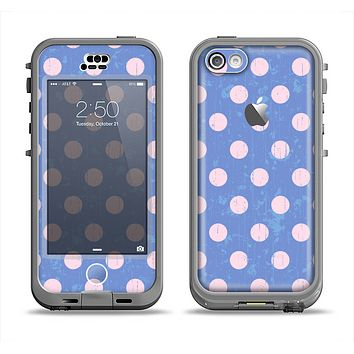 The Vintage Scratched Pink & Purple Polka Dots Apple iPhone 5c LifeProof Nuud Case Skin Set