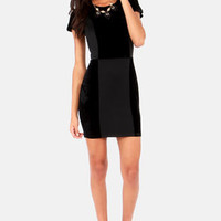 Lucca Couture Love Blockdown Black Velvet Dress