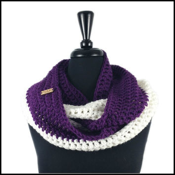 Purple & White Infinity Scarf