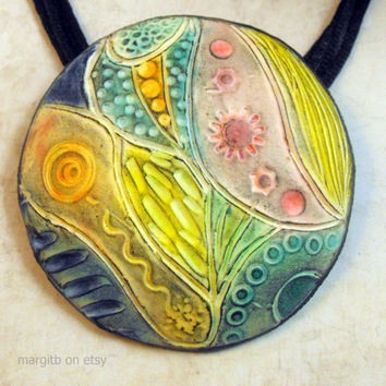 Carved Pendant from Polymer Clay - Handmade