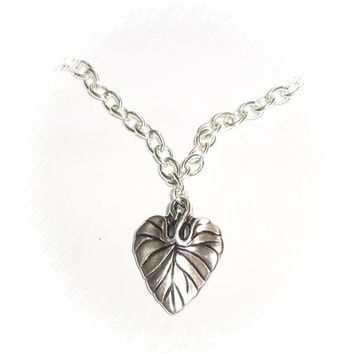 Silver chain and heart charm necklace