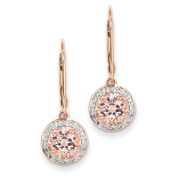 14k Rose Gold Diamond and Morganite Round Leverback Dangle Earrings XE2163MG/AA