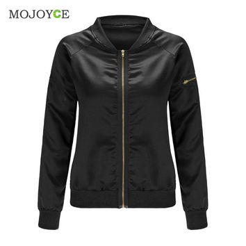 Fashion Women Ladies Classic Padded Bomber Jacket Vintage Shiny Tribute Silk Zip Up Biker Coat Stylis Outerwear  SN9
