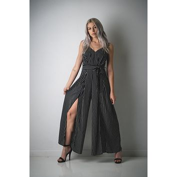 Black and White Pinstripe Shorts Jumpsuit