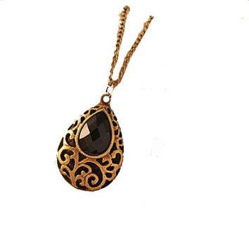Hollow Water Drop Black Crystal Necklace  For Women
