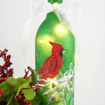 Lighted Wine Bottle Red Cardinal 750ml