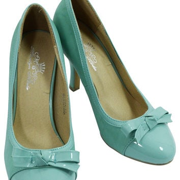 60's Vintage Pin-up Retro Inspired Mint Bow Accent Pump