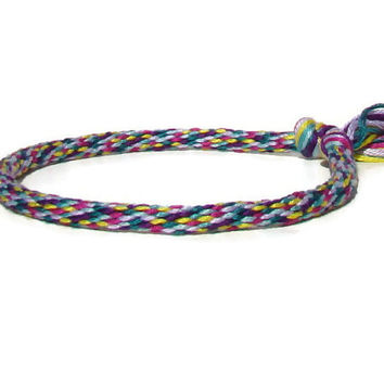 NEW-- rainbow sprinkles friendship kumihimo bracelet with or without purchased magnetic clasp-- your choice
