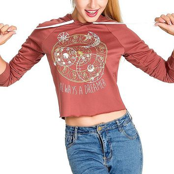 [14015] Women Letter Long Sleeves Cropped Printed Letter Printing Sweatshirt