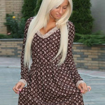 Louis Vuitton Print V-Neck Long Sleeve Mini Dress with Lace Accent