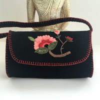 Vintage Style Hand Embroidered Pink Flower Wool Felt Mini Black Bag