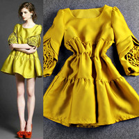 Solid Cuff Sleeves Flowers Ruched  Flounced Mini Dress
