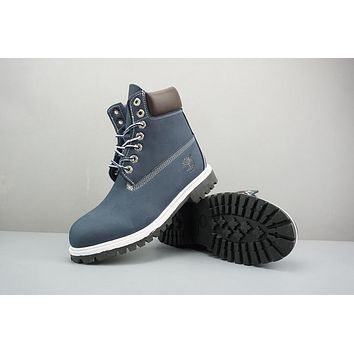 Timberland Leather Lace-Up Boot High Navy White Black