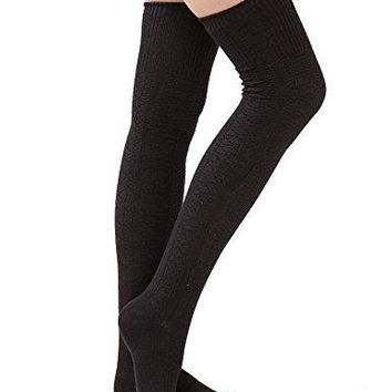 Womens Thigh High Socks Over the Knee High Leg Wamers Girls Winter Warm Crochet Socks