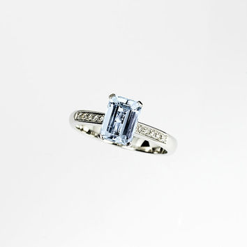 Emerald cut aquamarine ring, aquamarine engagement ring, diamond ring, solitaire, white gold, blue engagement, wedding ring, vintage style