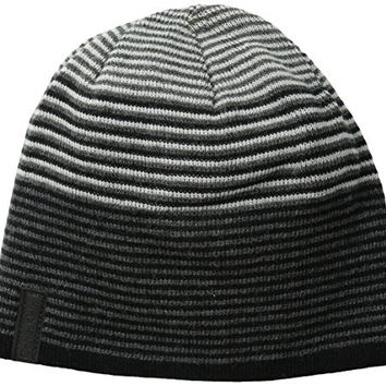 Calvin Klein Men's Ombre Logo Reversible Jacquard Beanie, Black/Charcoal/Soft Grey, One Size