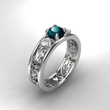 London blue topaz filigree ring, white sapphire ring, engagement ring, unique, teal engagement, wedding ring, white gold, sapphire, blue