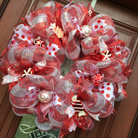 Deco Mesh Christmas Wreath - Peppermint Wreath - Candy Cane Red Silver Holiday
