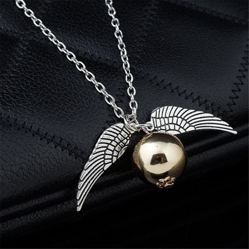 Fashion Harry Potter Necklace Men Vintage Style Angel Wing Charm Golden Snitch Pendent Necklace For Men Necklace Accessories