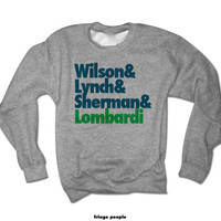 Wilson and Lynch & Sherman + Lombardi Crewneck | Seattle Go Hawks Twelves 12s Sweatshirt Seahawk Jersey NFL Fantasy Football Russell Tee