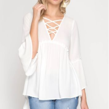 Women's 3/4 Bell Sleeve Top with High-Low Neckline and Criss Cross Details