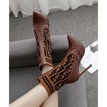 """""""FENDI"""" Autumn Winter Newest Trending Woman Stylish F Letter Knit Socks Boots Pointed High-Heeled Shoes Coffee"""