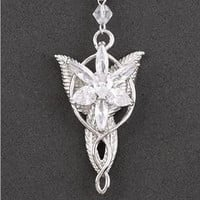 Lord of the Rings Fairy Princess Arwen Evenstar Silver Tone Pendant Necklace Women/Girls Jewelry, Gift