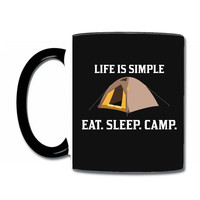 Life Is Simple Eat Sleep Camp Coffee & Tea Mug