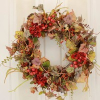 Fall Berries and Florals Decorative Door Wreath (22-24 inch)