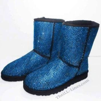 ICIK8X2 Custom Classic Tall UGG Boots made with Swarovski Crystals