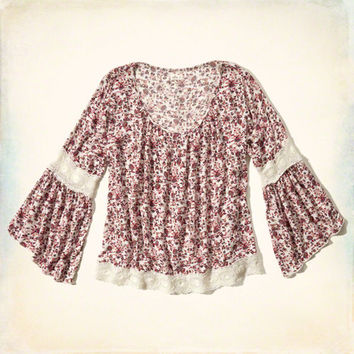 Lace Panel Peasant Blouse
