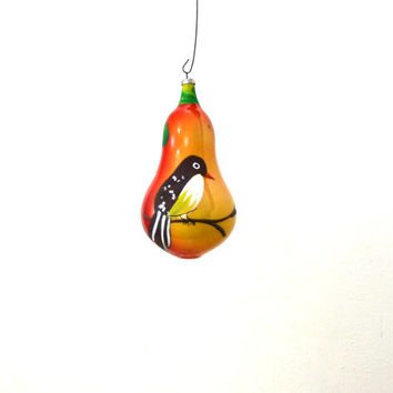 Vintage Glass Bird Ornament / Hand Painted / Yellow Ornament / Italy Ornament / Christmas Decor / Hand Blown Glass