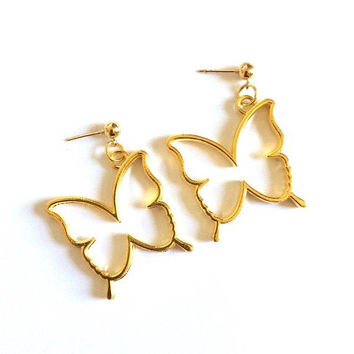 Gold Hollow Butterfly Studs