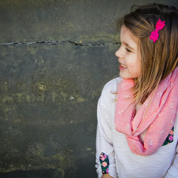 Anchor Infinity Scarf // Circle Scarf // Child Infinity Scarf // Toddler Infinity Scarf // Nautical Style // PInk // Blue