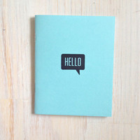 Medium Notebook: Hello, Blue, Cute, Party Favor, Blank Journal, Wedding, Favor, Journal, Blank, Unlined, Unique, Gift, Small, Notebook, Z240