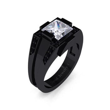 Mens Modern 14k Black Gold 2.0 Carat Princess White Sapphire Black Diamond Wedding Ring R1020M-14KBGBDWS