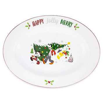 Disney Parks Santa Mickey and Friends Nordic Winter Holiday Serving Platter New