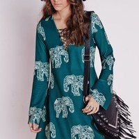 LONG SLEEVE CREPE SWING DRESS ELEPHANT PRINT TEAL