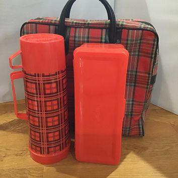 Vintage Buffalo Plaid Lunch bag Thermos and alladin container